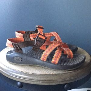 Orange and brown Chaco sandals 7